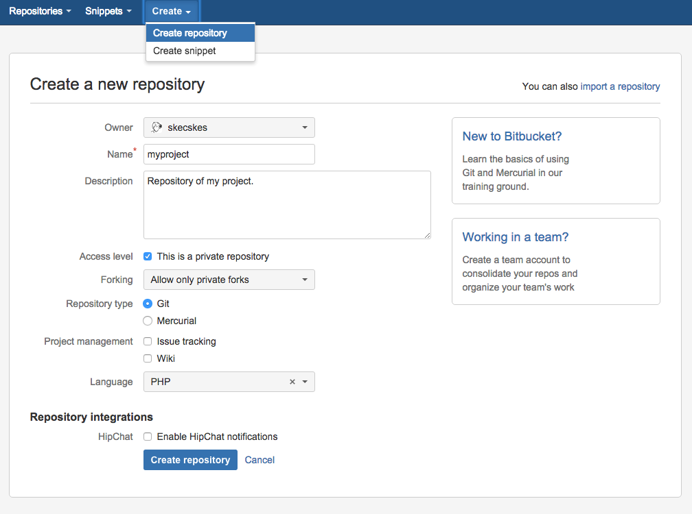 Creating new Bitbucket Repository